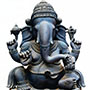 Wooden seated Ganesha - Antique finish | Height: 30 inches | Width: 21.5 inches