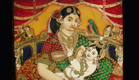 Yashoda and Krishna | Old Paper Painting | Mysore | Height:30 | Width:24 inches